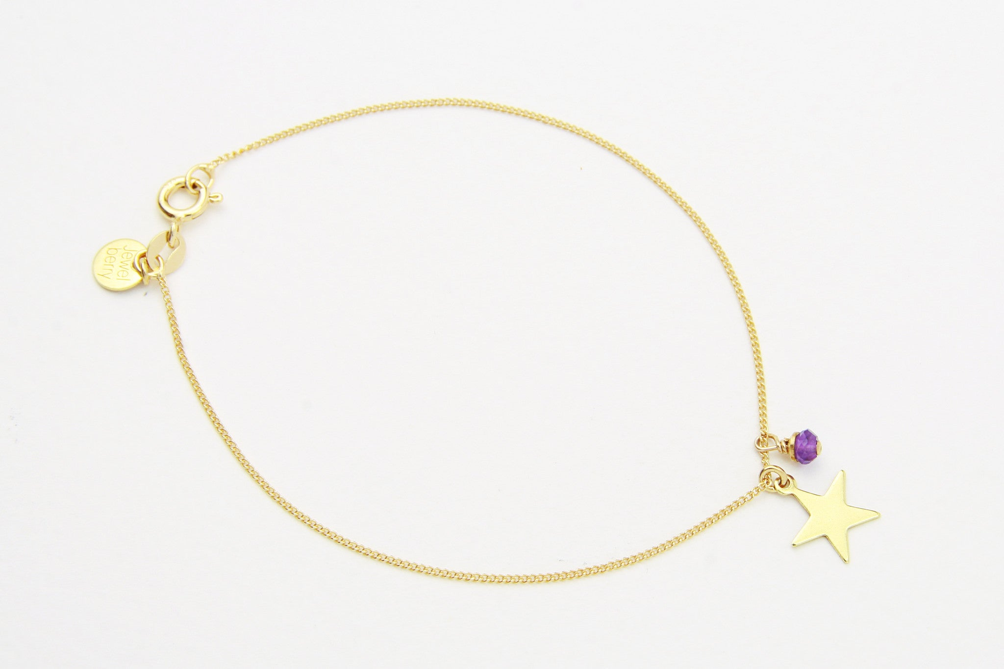 jewelberry armband bracelet plain star yellow gold plated sterling silver fine jewelry handmade with love fairtrade curb chain