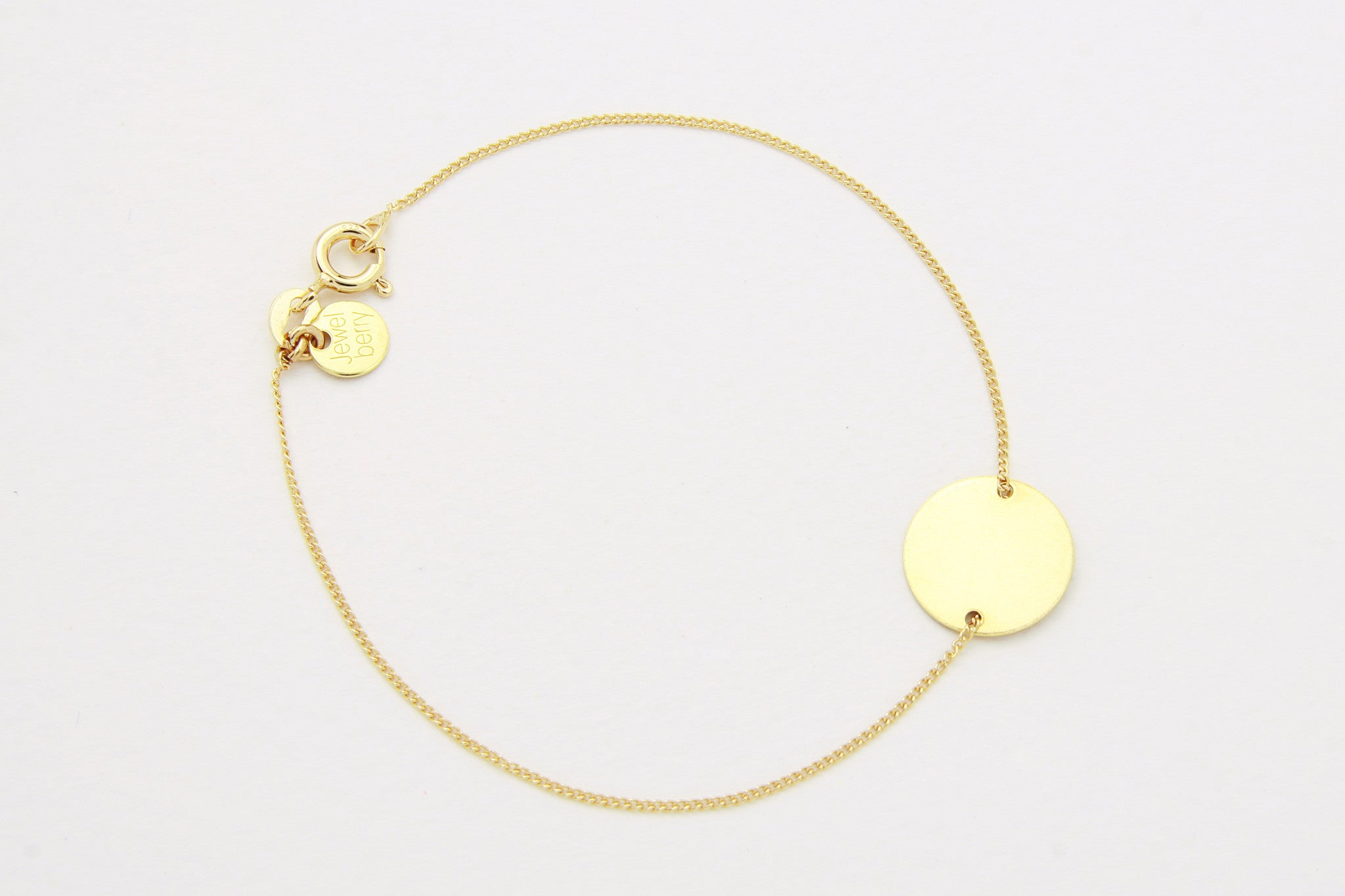 jewelberry armband bracelet medium disc double yellow gold plated sterling silver fine jewelry handmade with love fairtrade curb chain