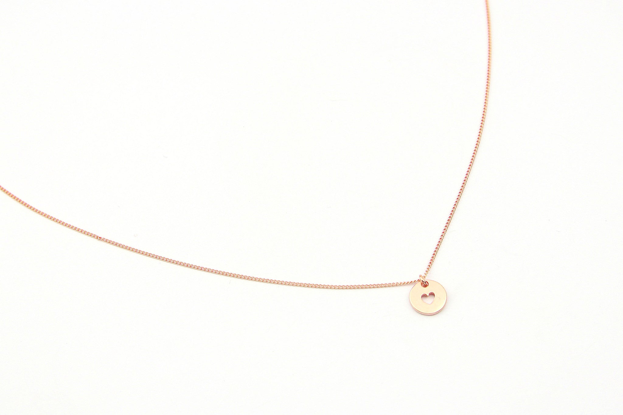necklace love token rose gold plated fine heart round coin