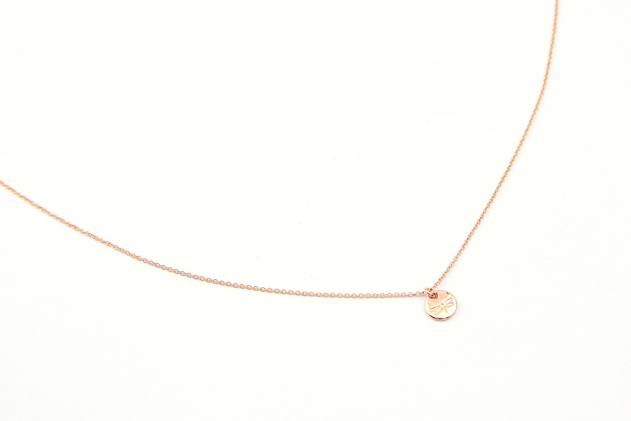 jewelberry necklace kette dragonfly token anchor chain rose gold plated sterling silver fine jewelry handmade with love fairtrade