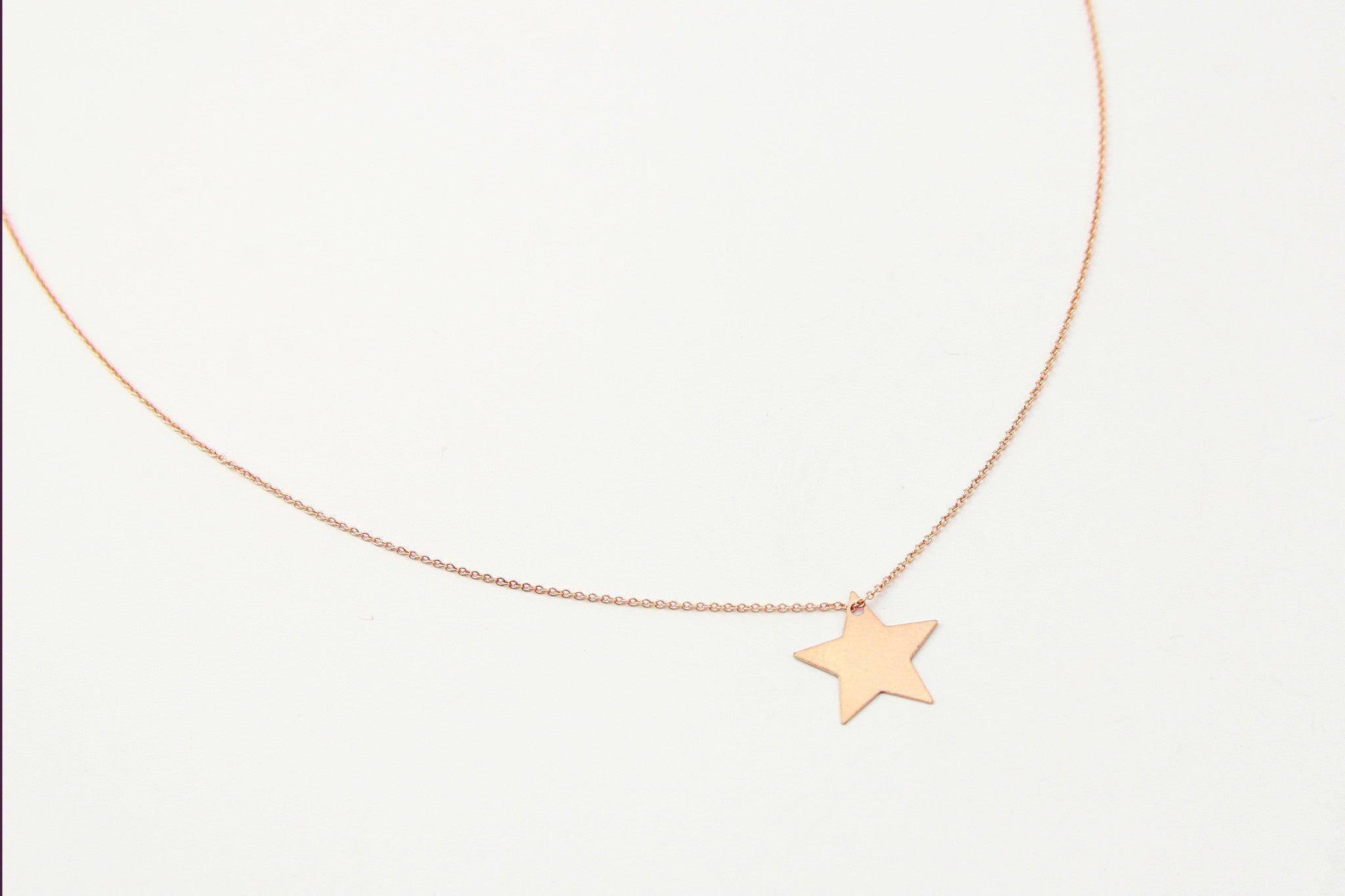 jewelberry  fine jewelry handmade with love fairtrade necklace kette plain star medium anchor chain rose gold plated sterling silver