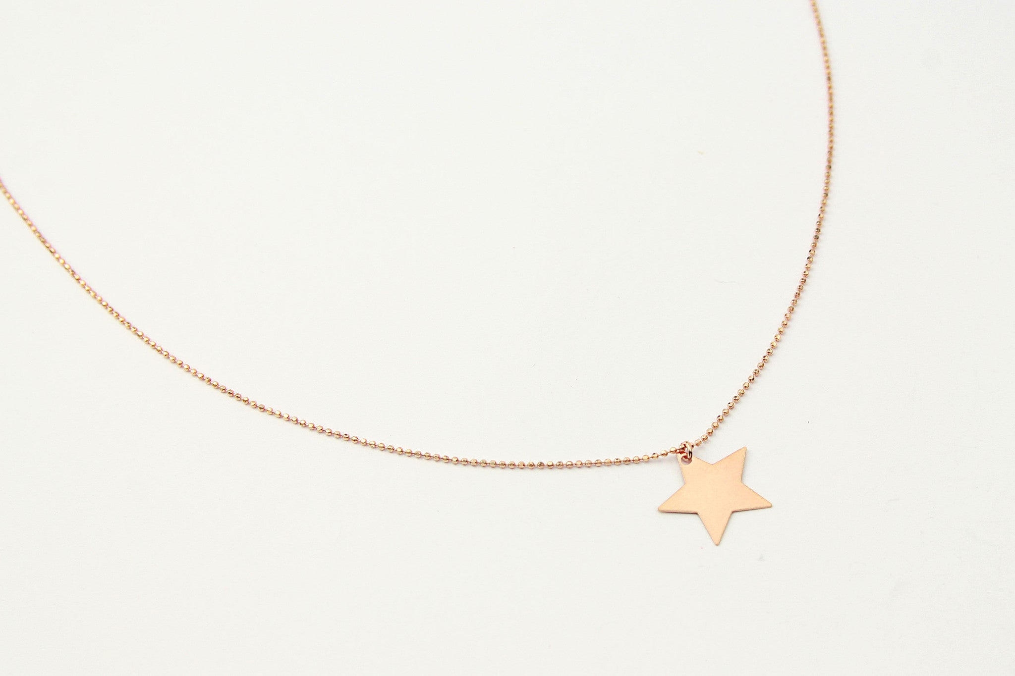 jewelberry  fine jewelry handmade with love fairtrade necklace kette plain star medium bead chain rose gold plated sterling silver