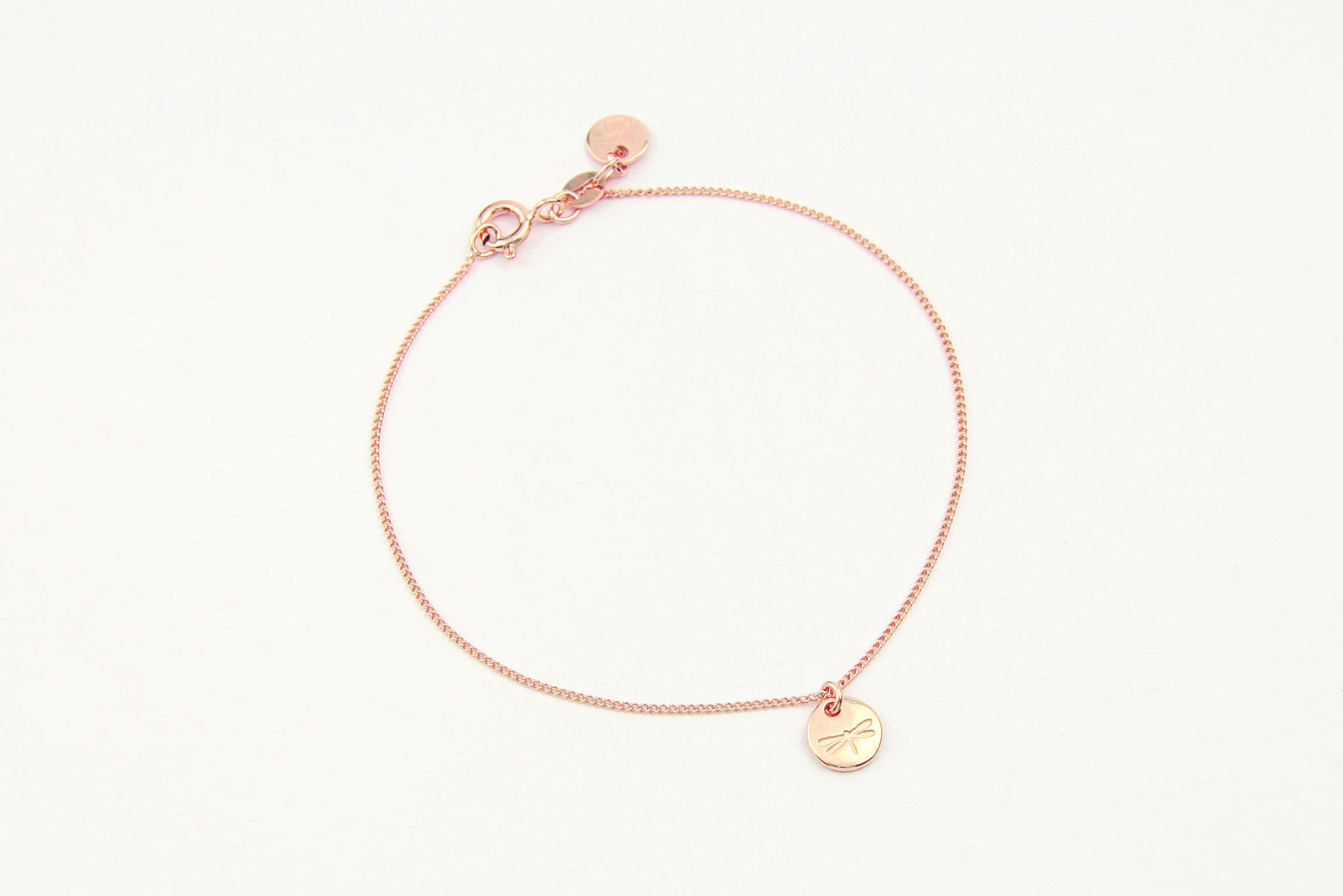 jewelberry armband bracelet dragonfly token rose gold plated sterling silver fine jewelry handmade with love fairtrade curb chain
