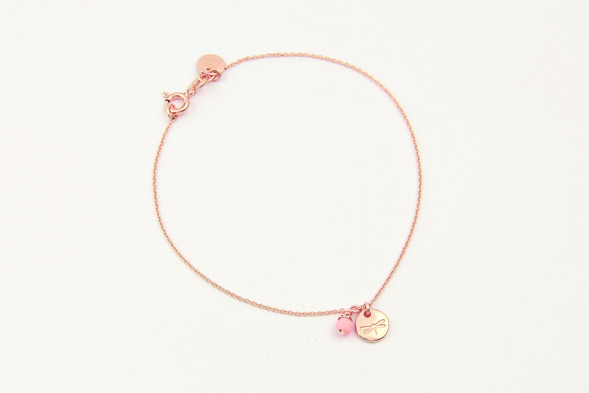 jewelberry armband bracelet dragonfly token rose gold plated sterling silver fine jewelry handmade with love fairtrade anchor chain