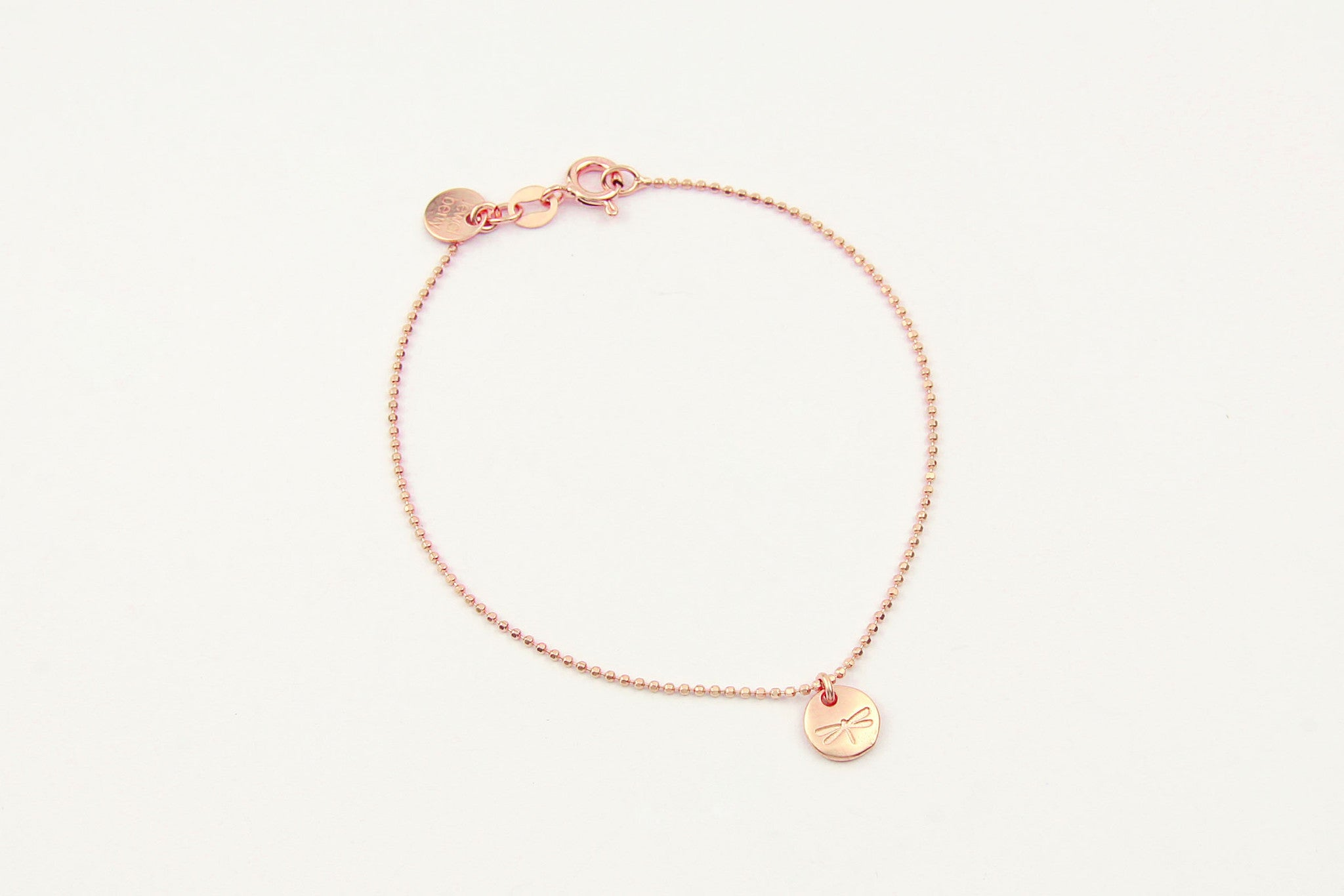 jewelberry armband bracelet dragonfly token rose gold plated sterling silver fine jewelry handmade with love fairtrade bead chain