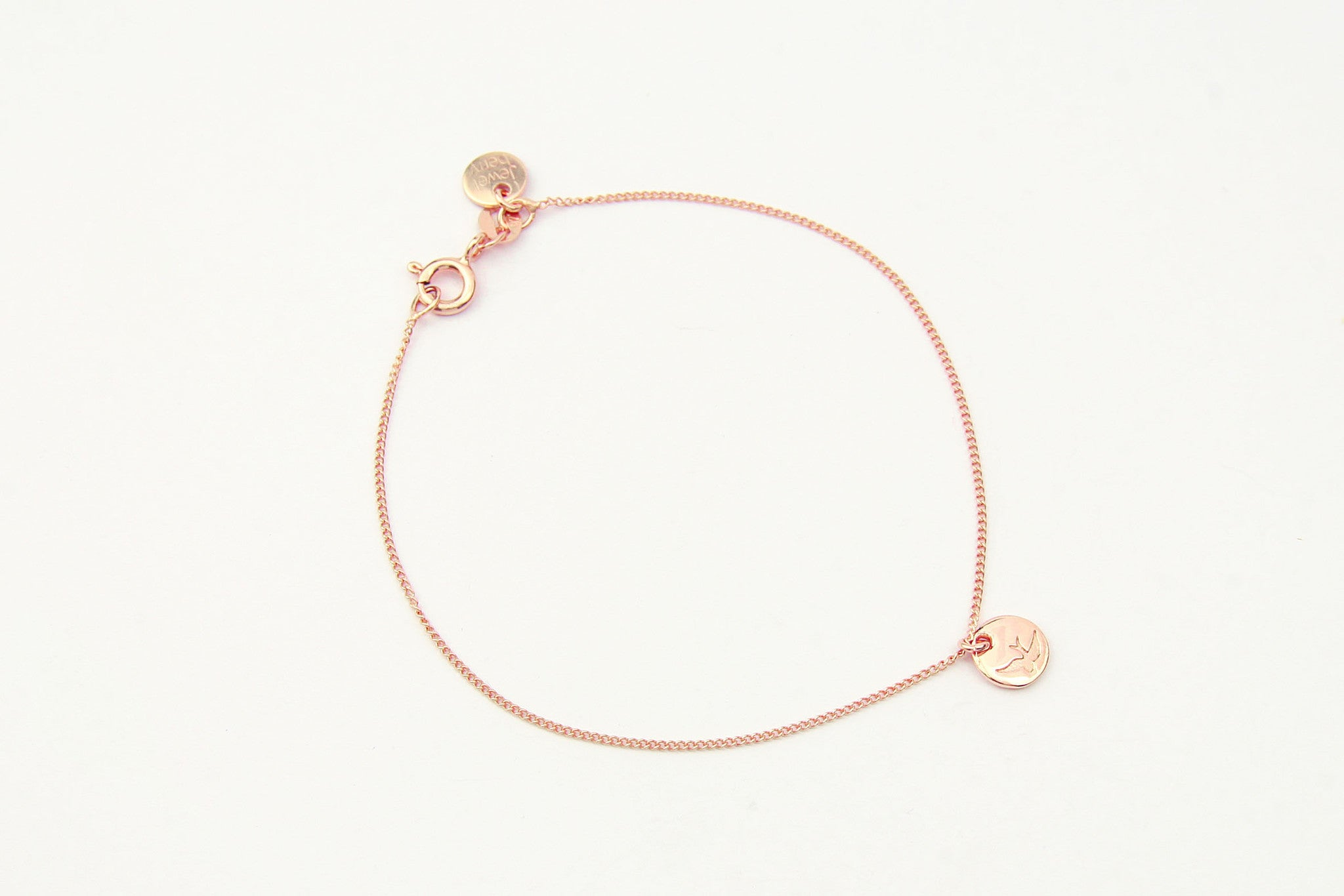 jewelberry armband bracelet bird token rose gold plated sterling silver fine jewelry handmade with love fairtrade curb chain
