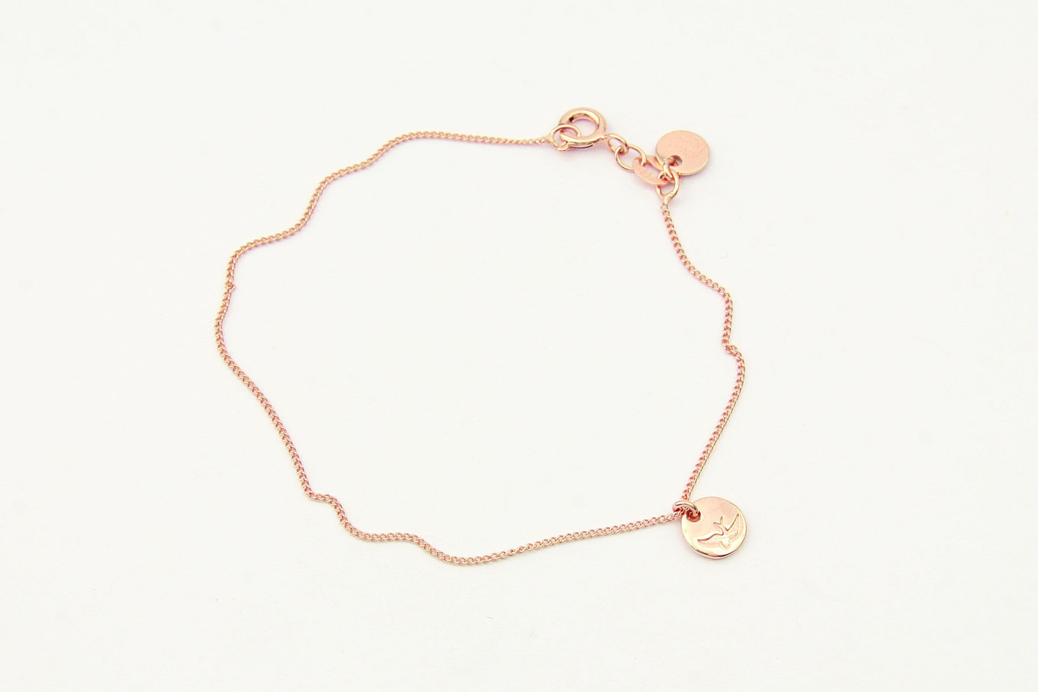 jewelberry armband bracelet bird token rose gold plated sterling silver fine jewelry handmade with love fairtrade anchor chain