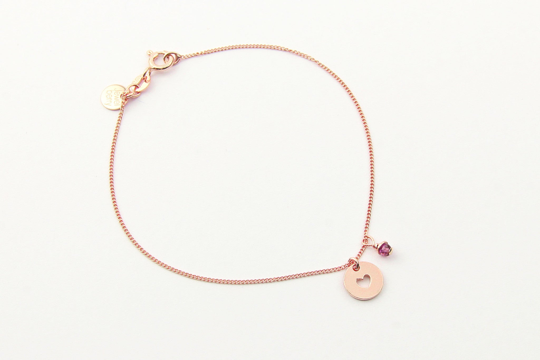 jewelberry armband bracelet love token rose gold plated sterling silver fine jewelry handmade with love fairtrade curb chain