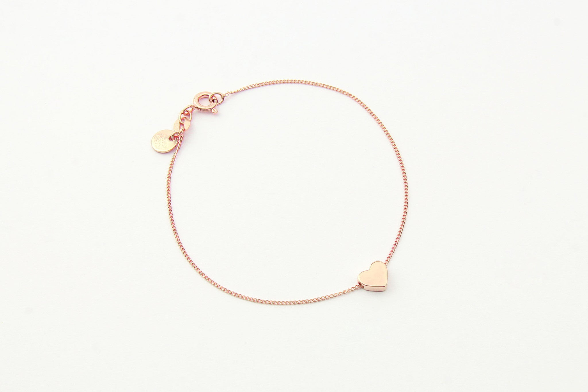 jewelberry armband bracelet little heart rose gold plated sterling silver fine jewelry handmade with love fairtrade curb chain