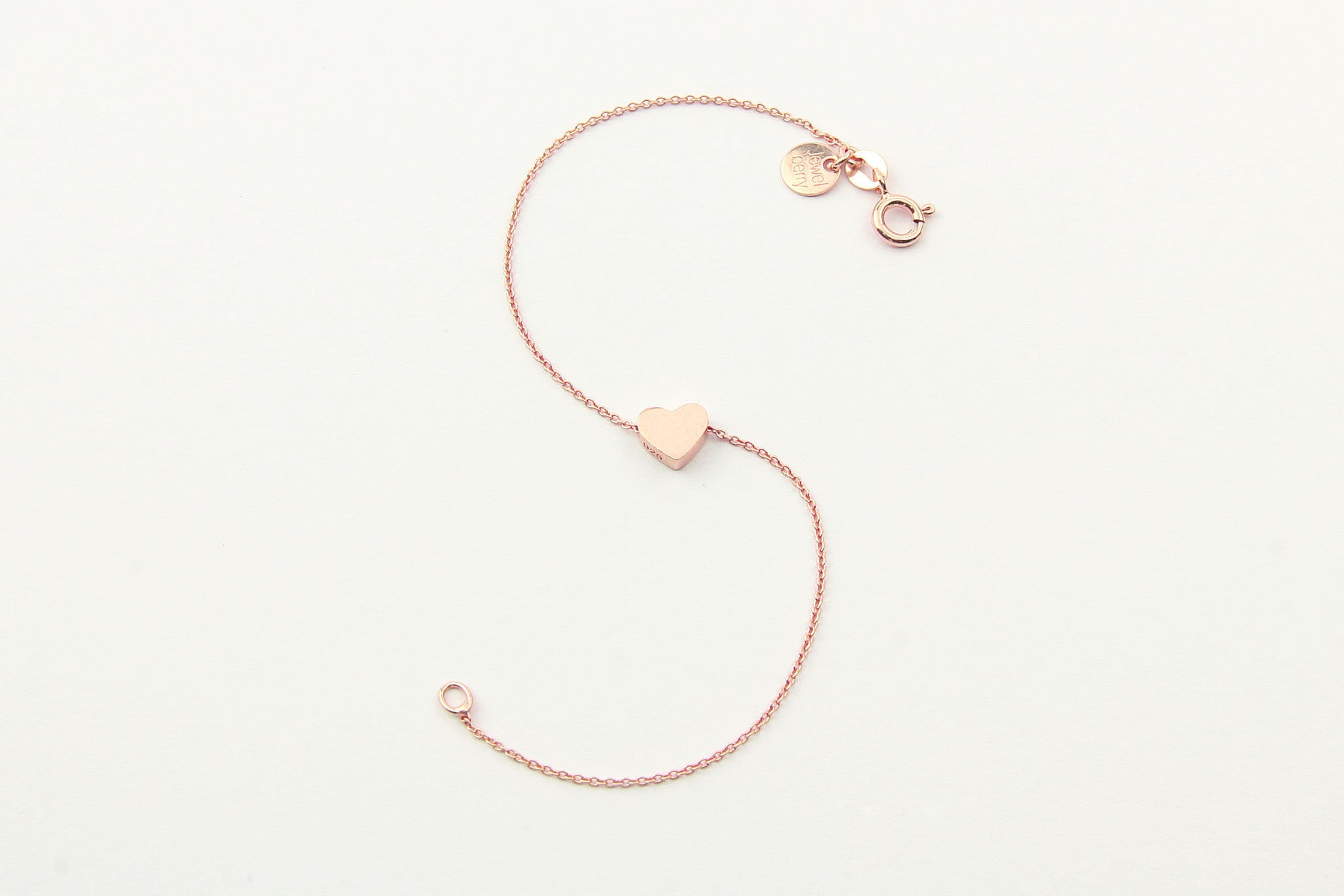 jewelberry armband bracelet little heart rose gold plated sterling silver fine jewelry handmade with love fairtrade anchor chain