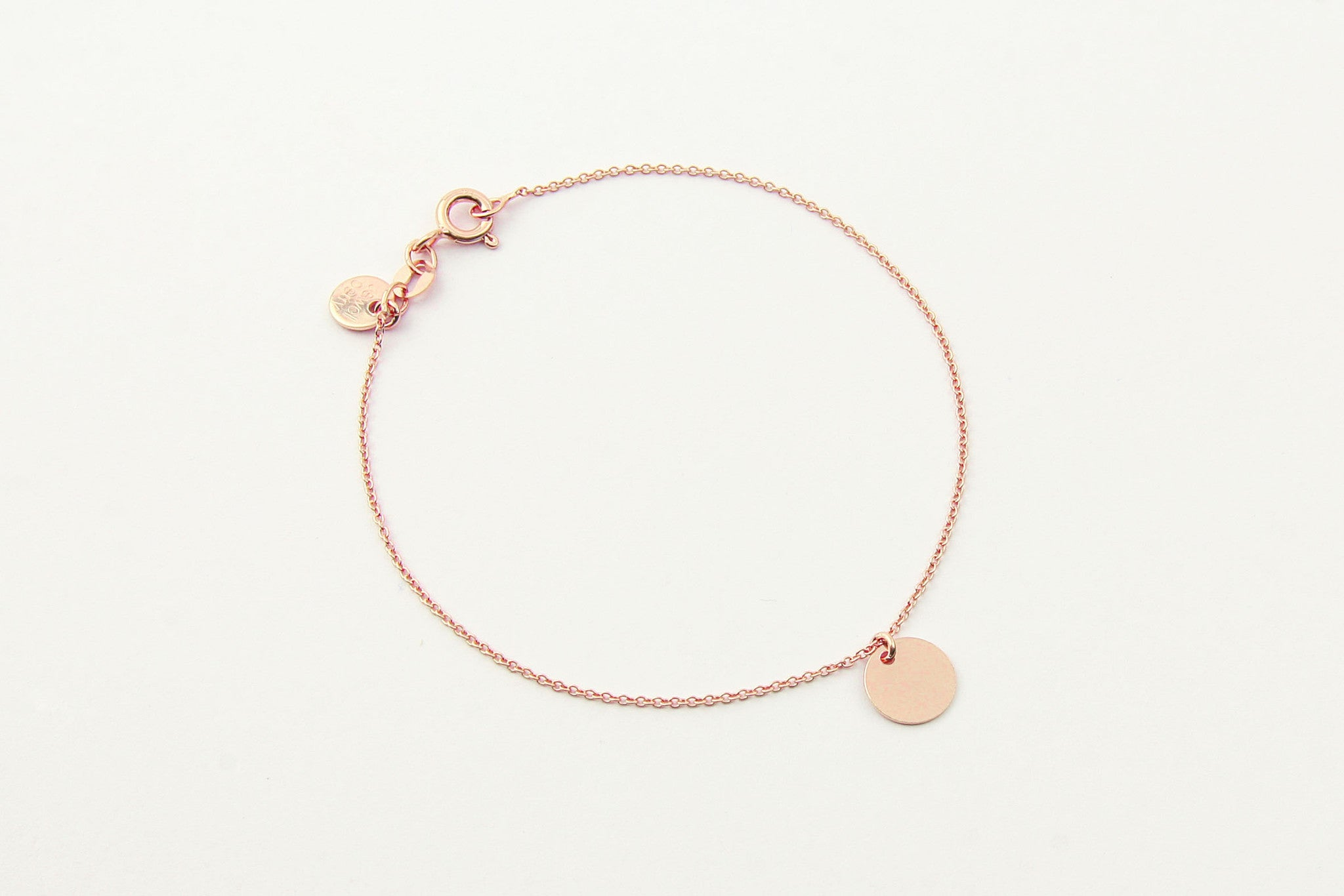 jewelberry armband bracelet small disc rose gold plated sterling silver fine jewelry handmade with love fairtrade anchor chain