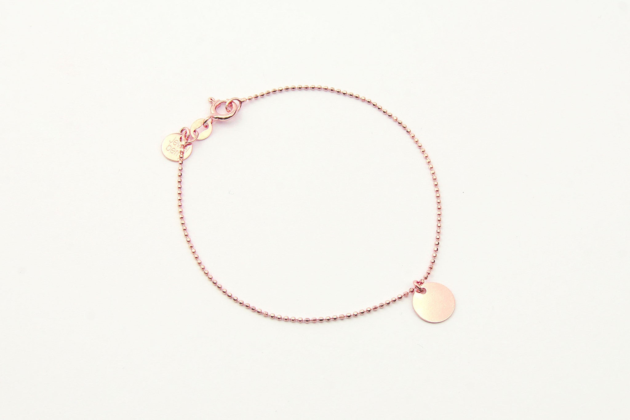 jewelberry armband bracelet small disc rose gold plated sterling silver fine jewelry handmade with love fairtrade bead chain