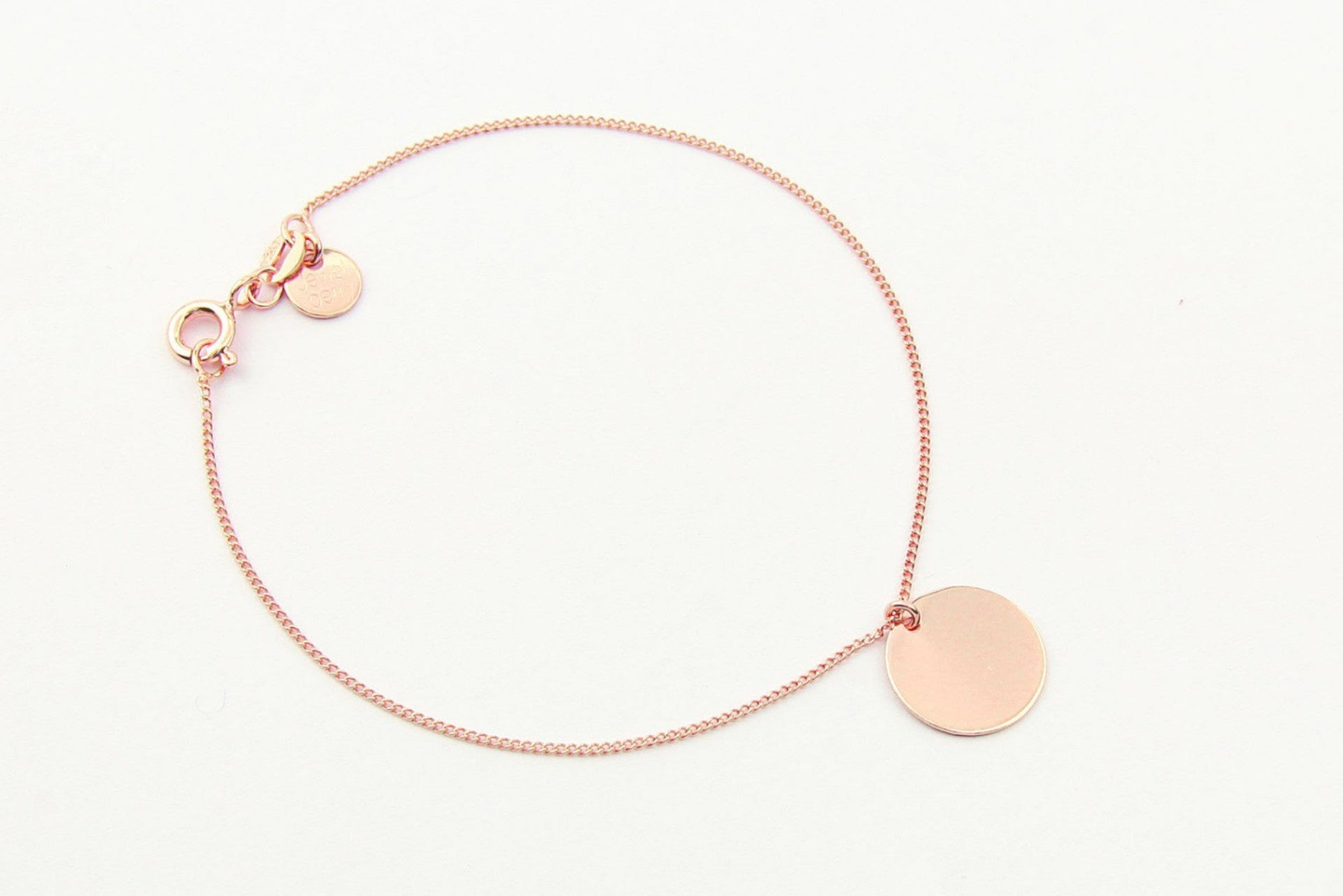 jewelberry armband bracelet medium disc rose gold plated sterling silver fine jewelry handmade with love fairtrade curb chain