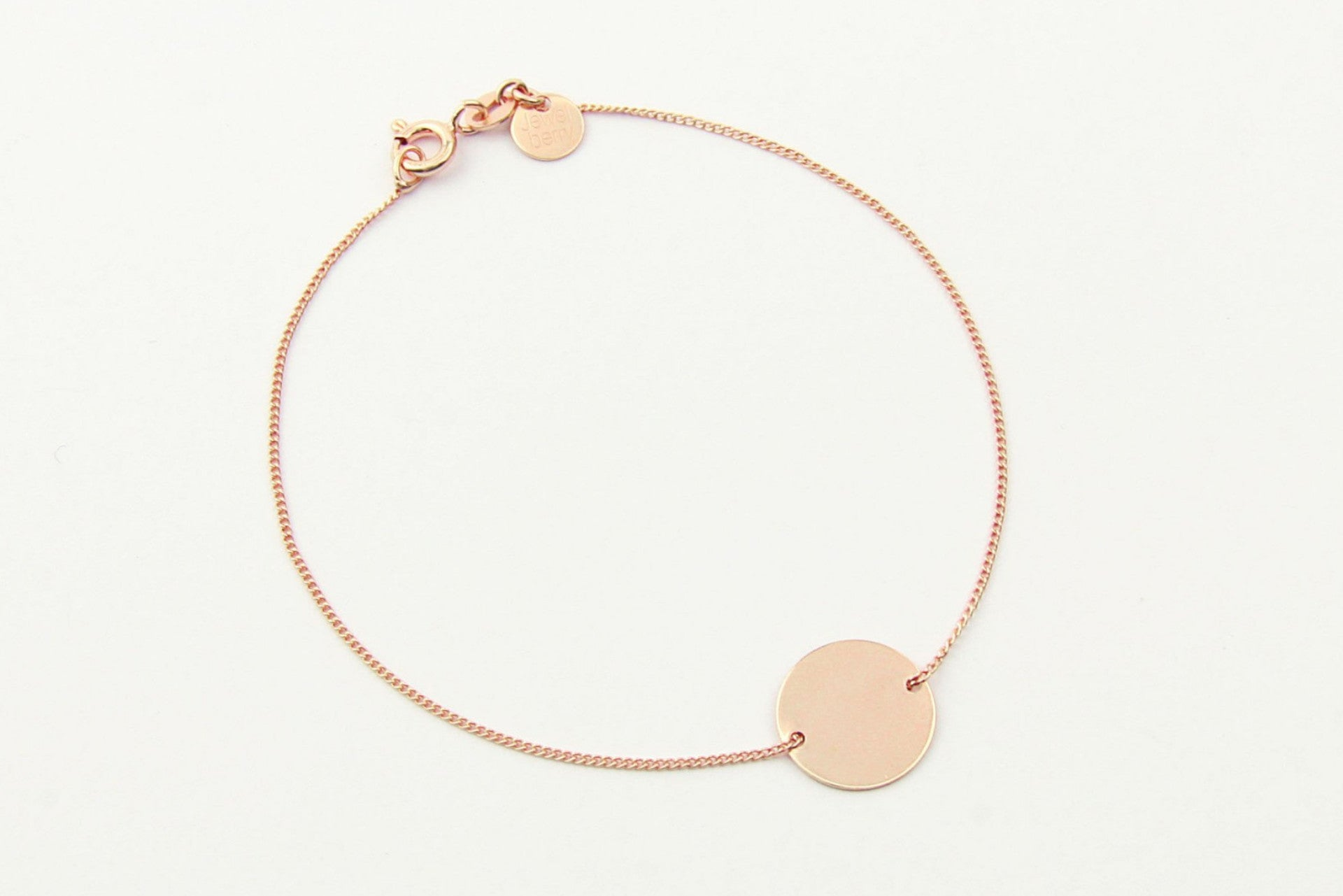 jewelberry armband bracelet medium disc double rose gold plated sterling silver fine jewelry handmade with love fairtrade curb chain