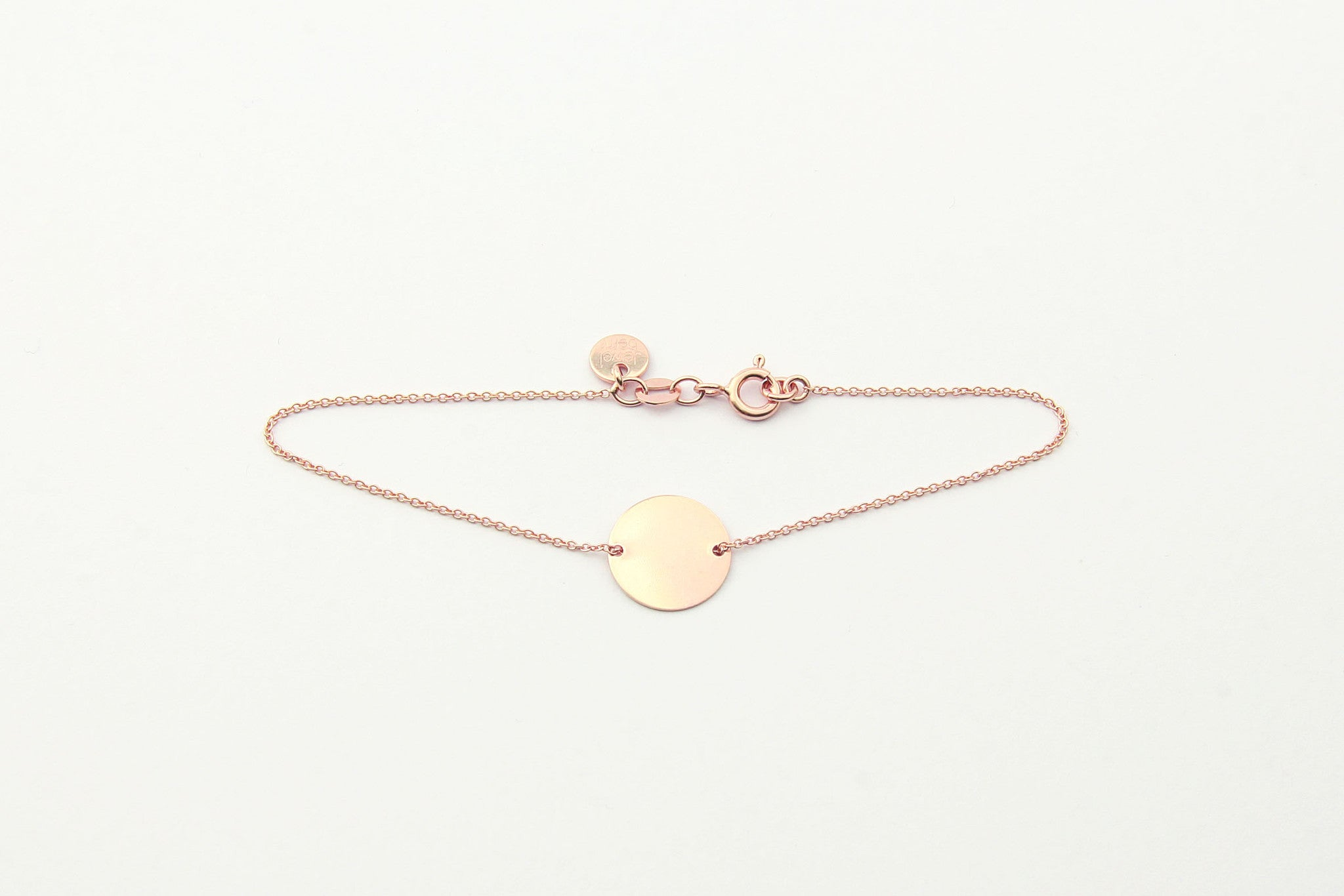 jewelberry armband bracelet medium disc double rose gold plated sterling silver fine jewelry handmade with love fairtrade anchor chain