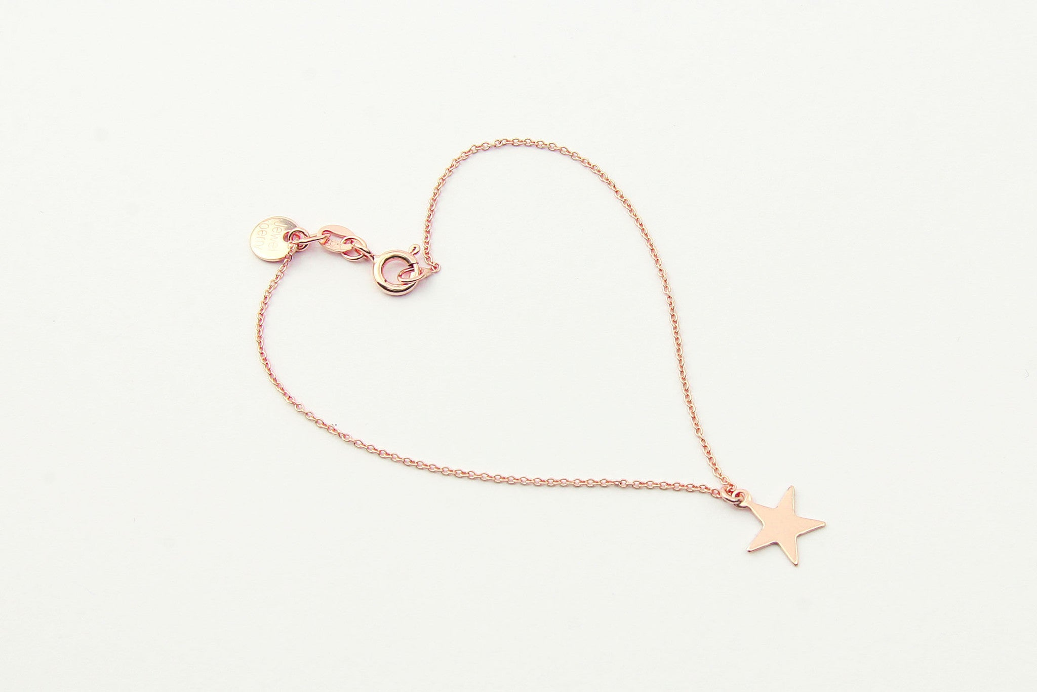 jewelberry armband bracelet plain star rose gold plated sterling silver fine jewelry handmade with love fairtrade anchor chain