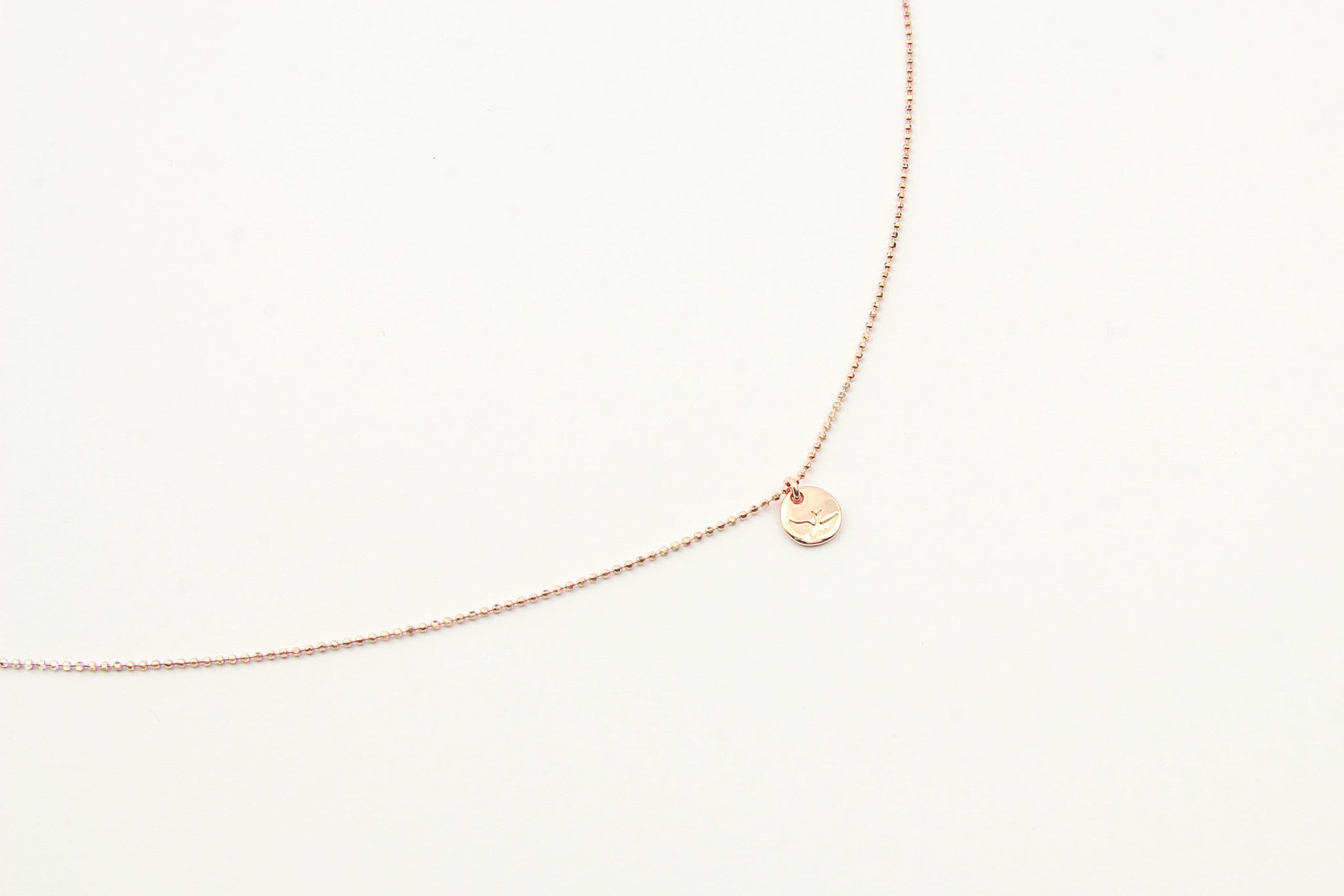 jewelberry necklace kette bird token bead chain rose gold plated sterling silver fine jewelry handmade with love fairtrade