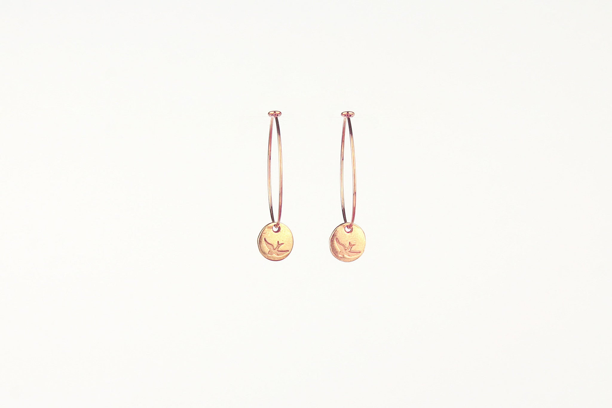 jewelberry ohrringe earrings bird token hoops rose gold plated sterling silver fine jewelry handmade with love fairtrade