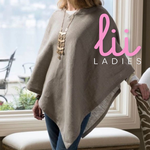 Poncho in Taupe Linen