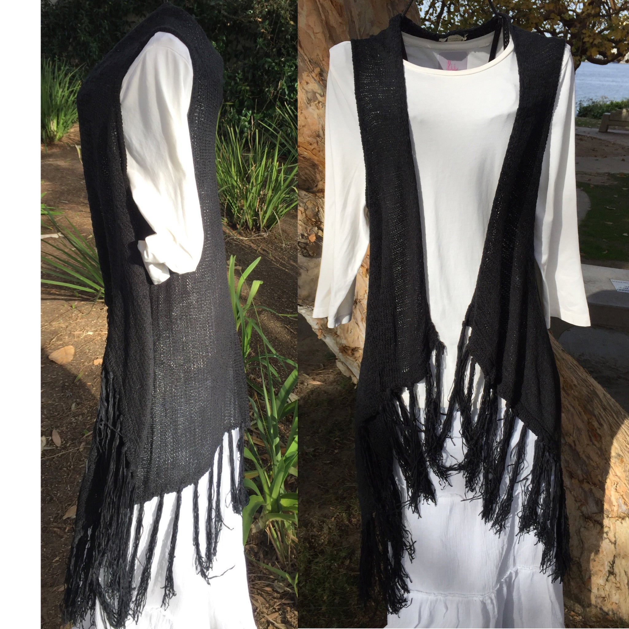 Vest Long-'Roxy' in Knit with Fringe (Black)