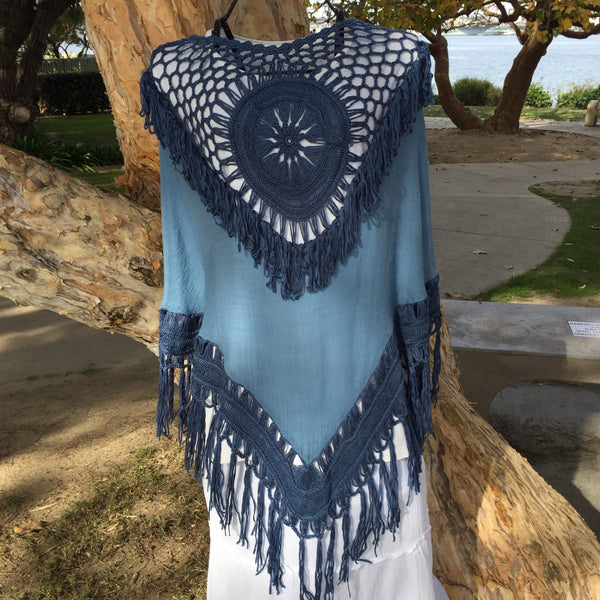 Poncho in Denim Blue with Fringe