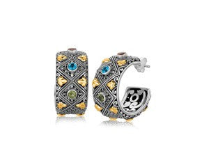 RICHARD CANNON Blue Topaz and Green Amethyst Embellished Diamond Pattern Half Hoop Earrings in 18K Yellow Gold and Sterling Silver