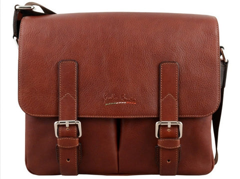 GIULIO BARCA Oak Brown Leather Messemger Bag - Fashion Res Publica  - 2