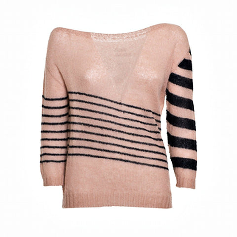 Blend Wool Sweater with wide neckline