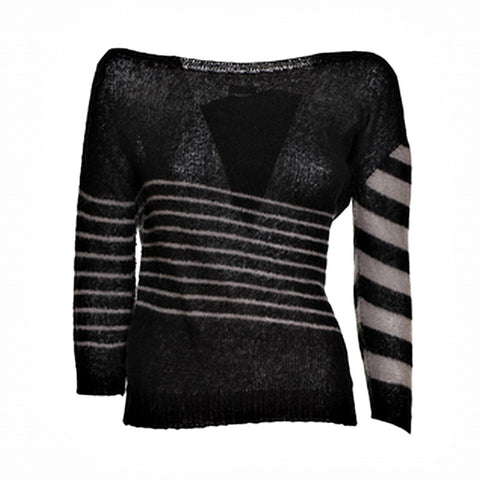 Blend Wool Sweater with Boat Neckline