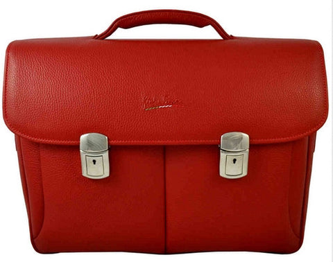 GIULIO BARCA London Red Leather Messenger Bag - Fashion Res Publica  - 2