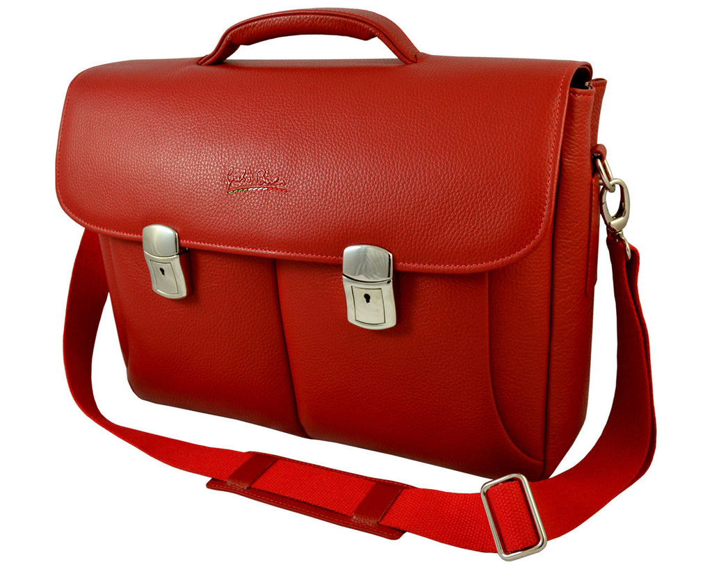 GIULIO BARCA London Red Leather Messenger Bag - Fashion Res Publica  - 1