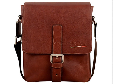 GIULIO BARCA Oak Brown Leather Cross Body Bag - Fashion Res Publica  - 2