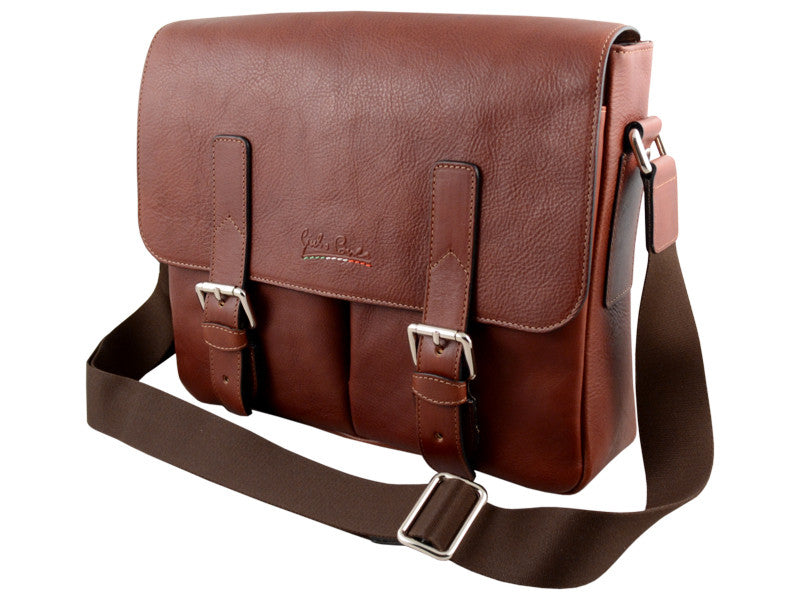 GIULIO BARCA Oak Brown Leather Messemger Bag - Fashion Res Publica  - 1