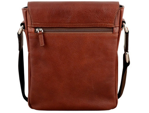 GIULIO BARCA Oak Brown Leather Cross Body Bag - Fashion Res Publica  - 3