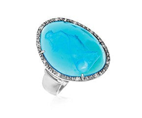 RICHARD CANNON Blue Venetian Glass Cameo Ring in Sterling Silver - Fashion Res Publica  - 1