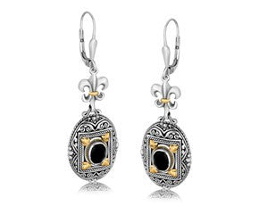 RICHARD CANNON Oval Black Onyx Fleur De Lis Dangling Earrings in 18K Yellow Gold and Sterling Silver - Fashion Res Publica  - 1
