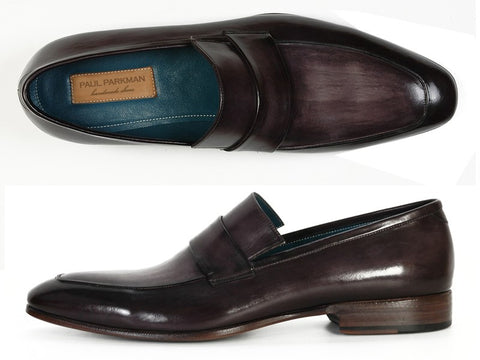 PAUL PARKMAN Men's Leather Loafer Black & Gray Hand-Painted - Fashion Res Publica  - 2