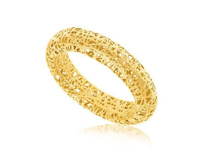 RICHARD CANNON JEWERLY Fancy Tube Motif Mesh Wire Ring in 14K Yellow Gold