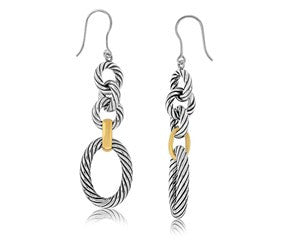 RICHARD CANNON Cable and Polished Chain Dangling Earrings in 18K Yellow Gold and Sterling Silver - Fashion Res Publica  - 1