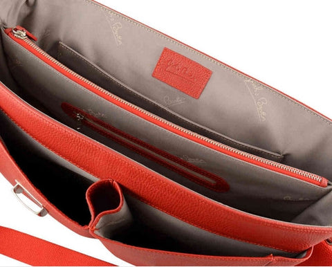 GIULIO BARCA London Red Leather Messenger Bag - Fashion Res Publica  - 4