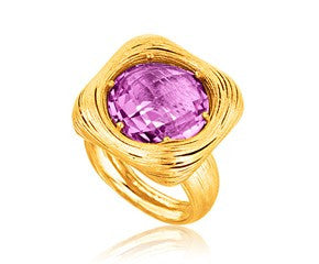 RICHARD CANNON Round Amethyst Filament Ring in 14K Yellow Gold - Fashion Res Publica  - 1