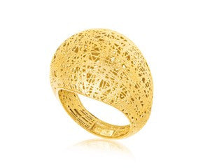 RICHARD CANNON Wire Mesh Motif Dome Ring in 14K Yellow Gold - Fashion Res Publica  - 1