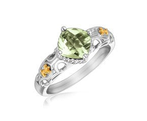RICHARD CANNON Square Green Amethyst Fluer De Lis Ring in 18K Yellow Gold and Sterling Silver - Fashion Res Publica  - 1