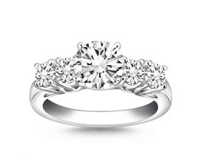 Five Stone Diamond Trellis Engagement Ring in 14K White Gold - Fashion Res Publica  - 1