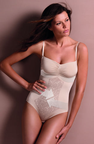 CONTROL BODY Italian Body with Fine Straps & Screen Print Lace - Firm Support