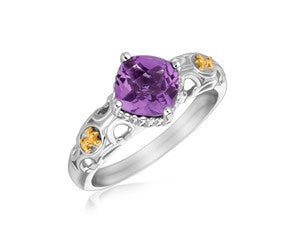 RICHARD CANNON Square Amethyst Ring with Fleur De Lis Design in 18K Yellow Gold and Sterling Silver - Fashion Res Publica  - 1