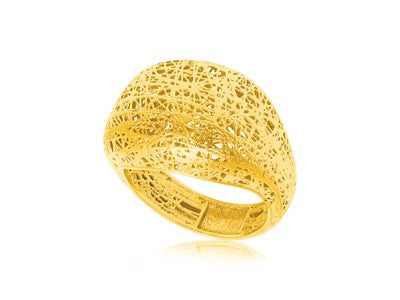 RICHARD CANNON Mesh Motif Dome Style Ring in 14K Yellow Gold - Fashion Res Publica  - 1