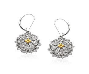 RICHARD CANNON Vintage Look Earrings with Diamonds in Sterling Silver and 14K Yellow Gold - Fashion Res Publica  - 1