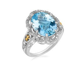 RICHARD CANNON Oval Blue Topaz and Diamond Accented Ring