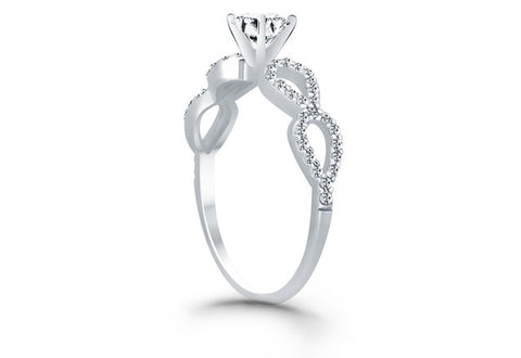 Double Infinity Diamond Engagement Ring in 14K White Gold - Fashion Res Publica  - 2